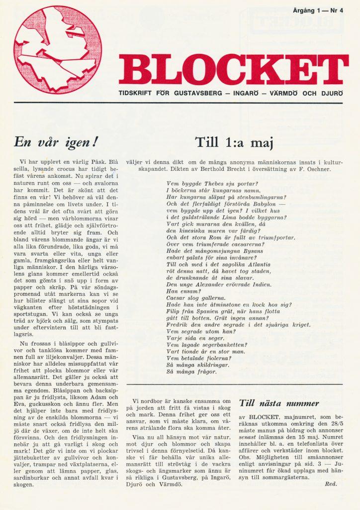 """En vår igen. Till 1:a maj en dikt av Berthold Brecht. """"Vem byggde Thebes sju portar.."""""""