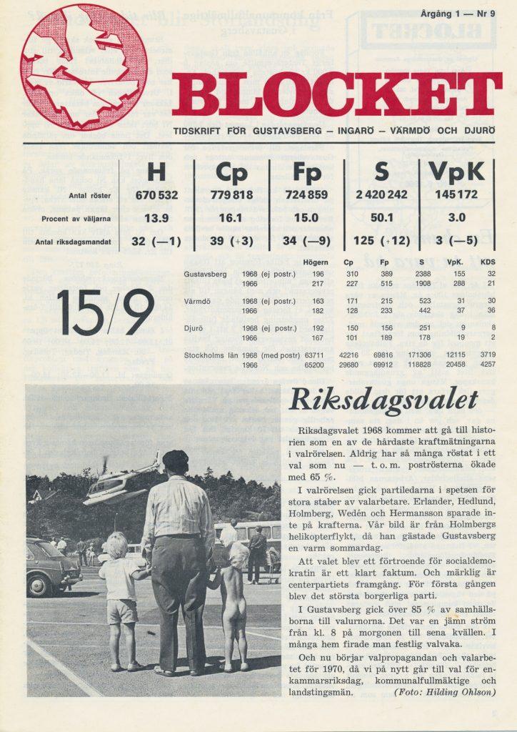 Riksdagsvalet 1968 H 13,9%, Cp 16,1%, Fp 15,0%, S 50,1%, VpK 3,0%. Bild från Yngve Holmbergs (H) helikopterflykt från Domusparkeringen. Foto: Hilding Ohlson.